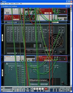 Reason has a virtual rack containing synth modules