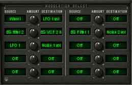 CS-80V - The 10 x 10 Modulation Matrix lets you assign modulation sources to destinations.