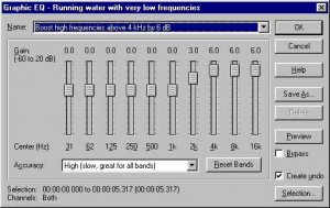 A software graphic EQ with ten bands, each twice the frequency (and, therefore, one octave up) from the previous band.