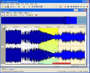 WaveLab's Audio Montage window can apply an automatic crossfade to two overlapping files.