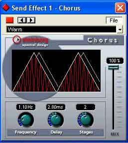 Steinberg's Chorus module gives a visual representation of the effect.