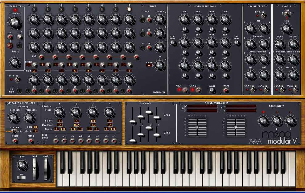 Arturia's Moog Modular V synthesiser has a Modulation wheel (lower left) and a dedicated Chorus section (top right).