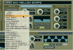 Morphology' Microtuning section features almost 20 alternative tuning.