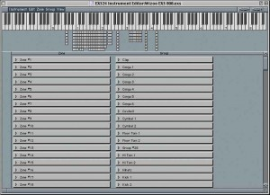 In the Instrument Editor page of Emagic's EXS24 sampler you can assign a range of samples to each key, ideal for creating drum sets.
