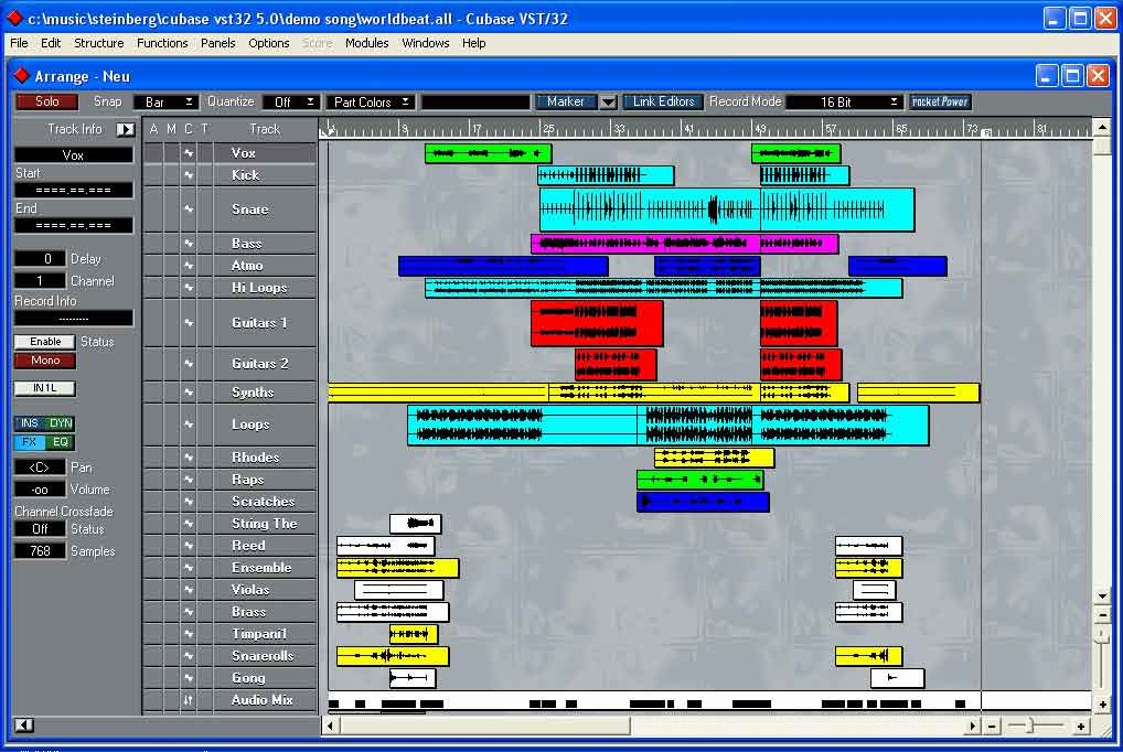 A complete song in Cubase. You can see where all the instruments are so it's easy to see the arrangement of each song part and how busy each section is.