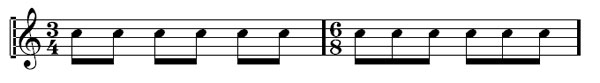 Time Signatures 16 - 3/4 and 6/8 time signatures have the same number of notes but the accents fall in different places.