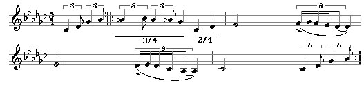Time Signatures 17 - Take Five groups the 5 beats of the bar into 3/4+2/4.