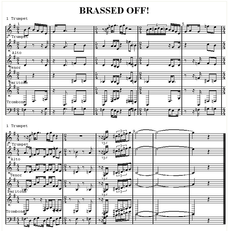 (Click to enlarge) This arrangement for brass includes odd time signatures and time signature charges in virtually every other bar. Note that the change of time signature to 4/4 at the start of the second stave is heralded by the insertion of 4/4 at the very end of the first stave
