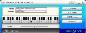 The Audigy SoundFont Manager can be used to select SoundFonts which you can audition from the keyboard.