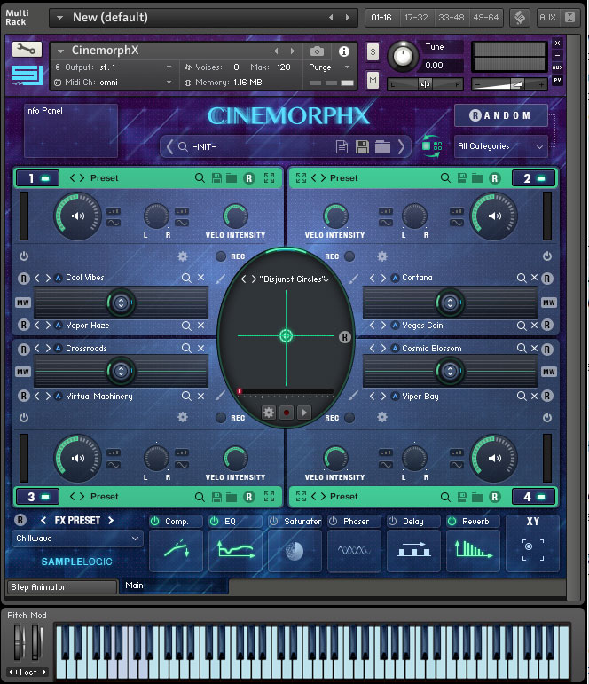 Sample Logic Cinemorphx main screen