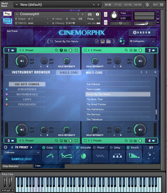 Sample Logic Cinemorphx Browser screen
