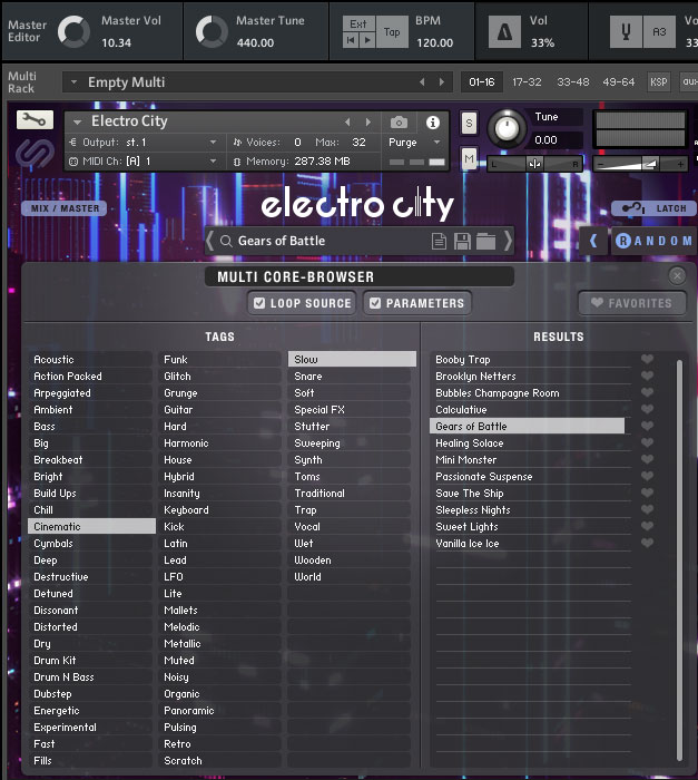 Electro City browsing screen