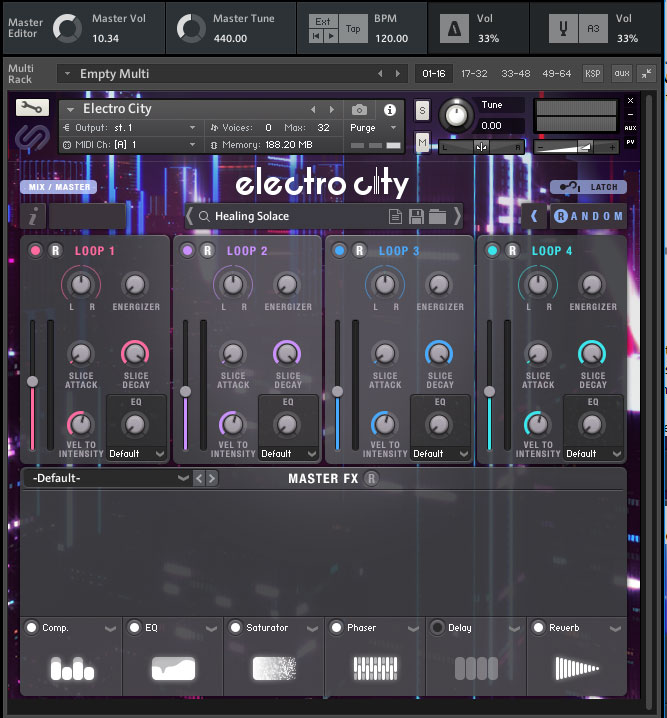 Master FX section of Electro City