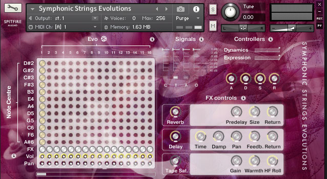 The Symphonic Strings Evolutions GUI