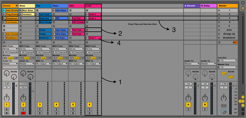 Ableton session view with labels